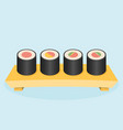 wooden tray with sushi vector image vector image