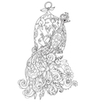 Zen art stylized peacock Hand drawn doodle vector image vector image