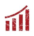 Red grunge growing graph logo vector image