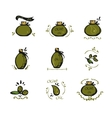 Set of doodles olive oil icons vector image