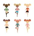 Yoga kids Young girls of different nationalities vector image