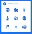 9 fun icons vector image vector image