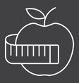 apple with measuring tape line icon fitness vector image