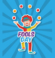 april fools day fun a clown juggling balls vector image