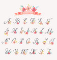 beautiful floral letters vector image vector image