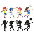 Boys and girls doing sports vector image