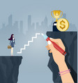 businesswoman climbs stairs drawn vector image