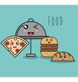 cartoon catering fast food with facial expression vector image vector image