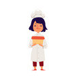 child girl cooks in a chef robe and hat flat vector image