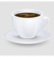 classic black coffee in a white cup with a saucer vector image vector image