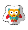 color stamp owl icon vector image vector image