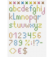 Colorful cross stitch lowercase english alphabet vector image vector image