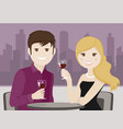 couple of lovers toasting in a restaurant vector image vector image