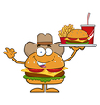 Cowboy Hamburger Cartoon vector image vector image