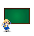 cute school girl near blackboard with empty copy vector image vector image