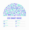 eco smart house concept in half circle vector image vector image