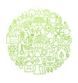 ecology line icon circle design vector image