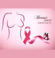 female body outline with a pink ribbon vector image