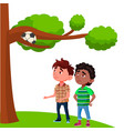 frustrated kids look at the ball stuck vector image vector image