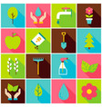 gardening spring colorful icons vector image