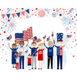 group of people holding american flag vector image vector image