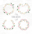 hand drawn pastel flower and floral frame vector image vector image