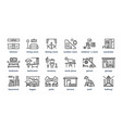 home rooms line icons living room bedroom kitchen vector image vector image