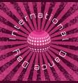 international dance day crimson mirror ball vector image vector image