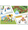 isometric children care composition vector image vector image