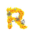 letter r hellish flames and sinners font fiery vector image vector image