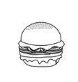 line delicious hamburger fast food meal vector image vector image