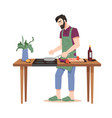 man cooking dinner frying vegetables isolated guy vector image vector image