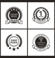 medals for first place monochrome logotypes set vector image