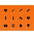 Medical icons on orange background vector image vector image