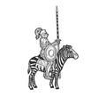 medieval knight riding a zebra sketch vector image vector image