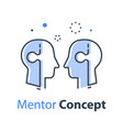mentor concept two heads and jigsaw team work vector image