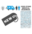 New Tag Icon with 1000 Medical Business Symbols vector image vector image