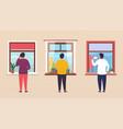 people look through window talking vector image vector image