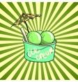 Pistachio Ice Cream in a cup vector image