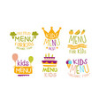 premium menu for kids labels set organic food for vector image vector image
