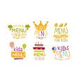 premium menu for kids labels set organic food vector image vector image