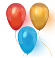 red blue and gold realistic balloons on white vector image vector image