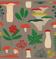retro seamless pattern with mushrooms vector image vector image