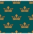 Royal seamless pattern with golden crowns vector image