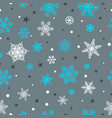 seamless pattern of snowflakes white and blue on vector image vector image