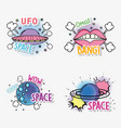 set fashion ufo with planet and mouth patch vector image vector image