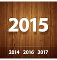 Simple 3D 2015 on Wooden Background vector image