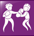 Sport icon design for boxing on purple background vector image vector image