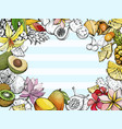 summer background with fruit and flowers vector image vector image