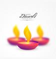vibrant colorful diya for diwali background vector image vector image